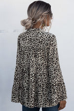 Leopard Print Bell Sleeve Top | Apricot