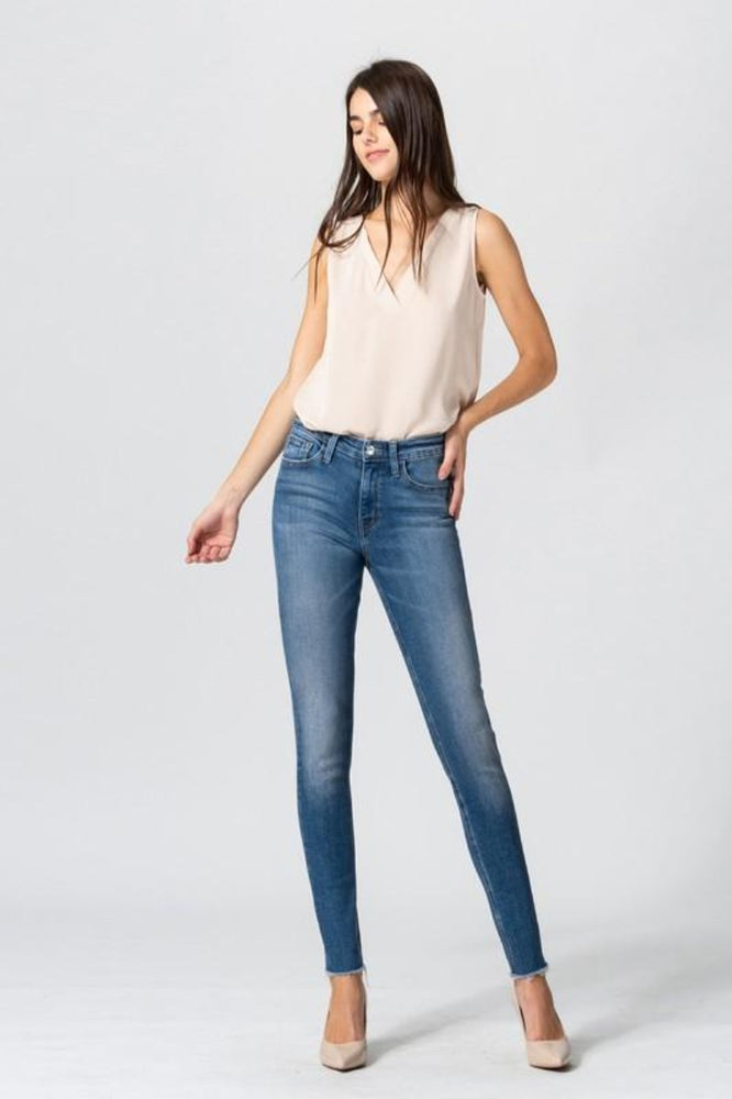Mid Rise Raw Hem Ankle Skinny Jeans
