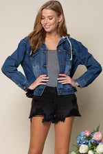 Denim Jacket with Hoodie | Denim Blue