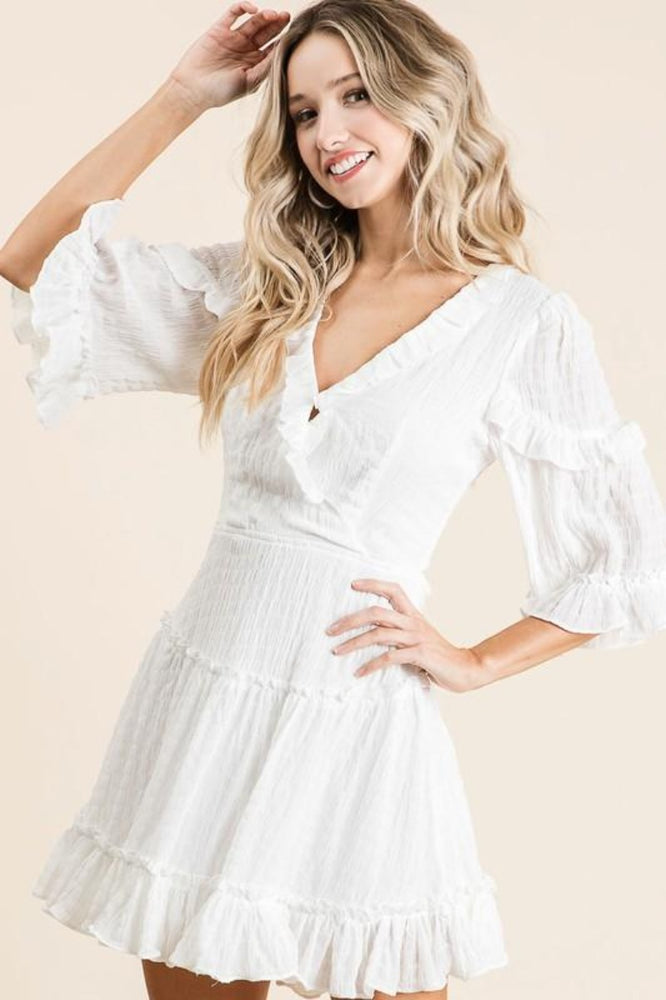 Crinkled Woven Mini Dress