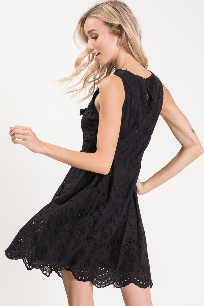 Sleeveless Lace Embroidered Dress