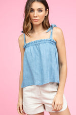Washed Denim Shift Top | Denim Blue