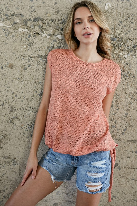 Light Sweater Knit Top | Orange