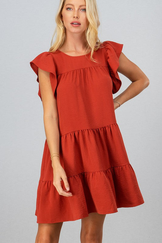 Flutter Sleeve Ruffle Dress | Rust