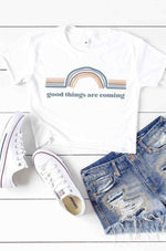 Retro Good Things Are Coming Crop Graphic Tee
