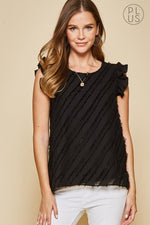 Flutter Sleeve Top | Black