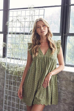 Embroidered Lace Romper | Olive