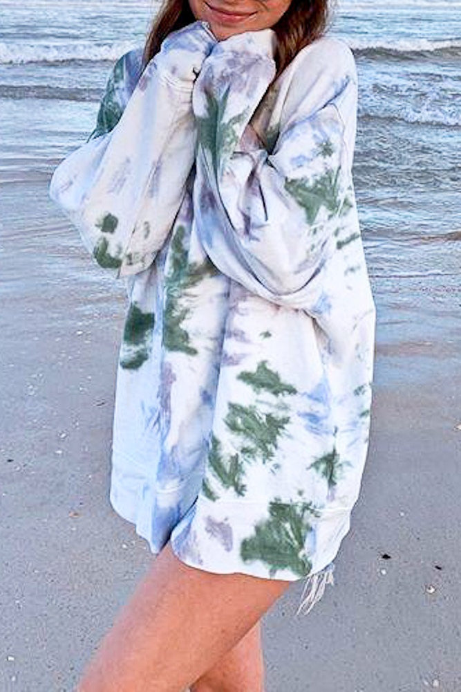 Multi Color Tie Dye Pullover | Green Mix