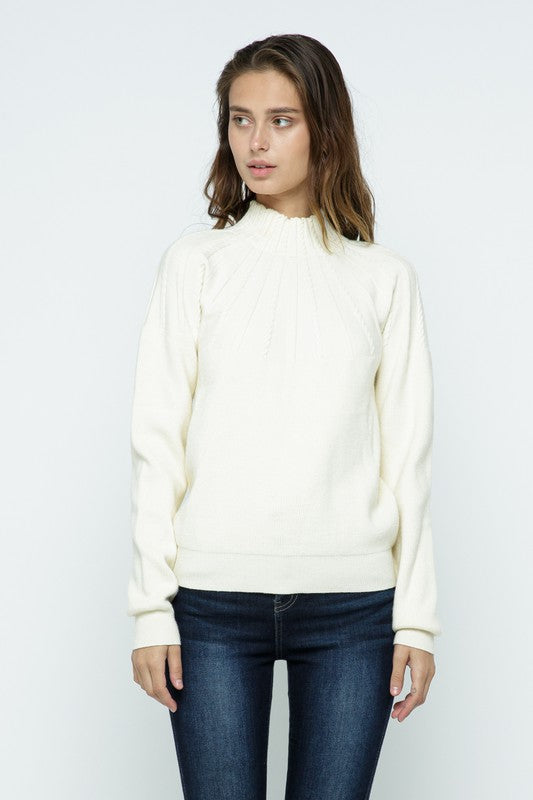 Radiating Cable Stripe Mock Neck Sweater | Ivory