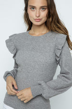 Shoulder Ruffle Sweater | Heather Grey