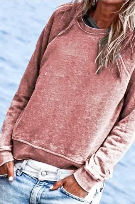 Crew Neck Washed Out Top | Rust