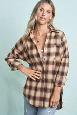 Selby Button Down Plaid Shirt | Brown
