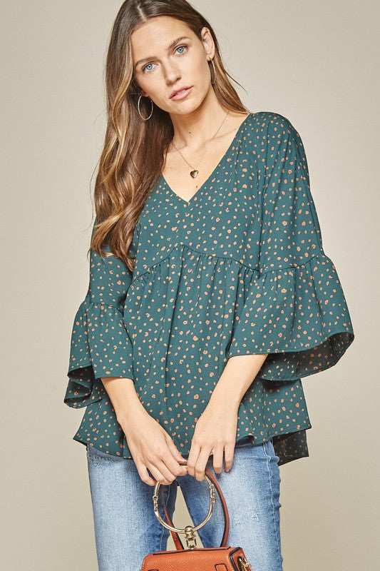 V-Neck Babydoll Leopard Top | Hunter Green