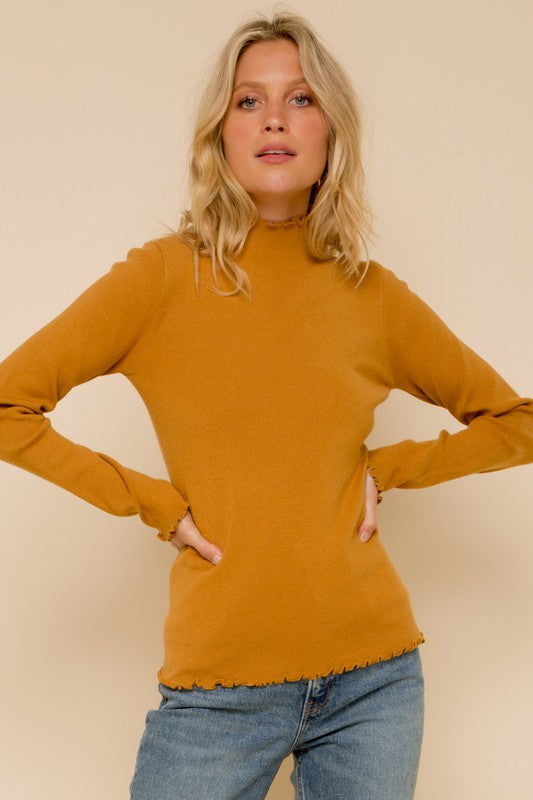 Mini Ruffle Edge Mock Neck Sweater | Mustard