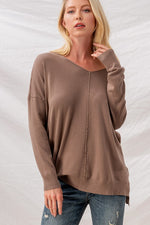 Soft Hi-Low Tunic Sweater | Mocha