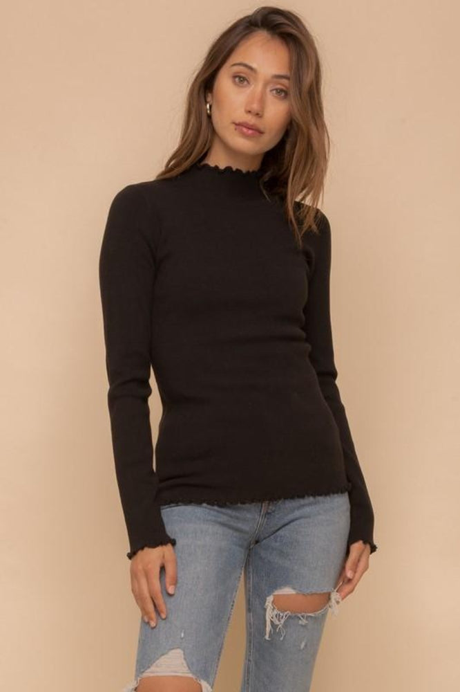 Mini Ruffle Edge Mock Neck Sweater | Black