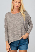 Dolman Hi-Low Tunic Top | Oatmeal