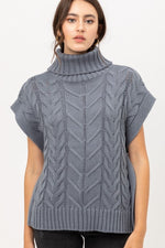 Sleeveless Turtleneck Cable Knit Sweater | Light Teal