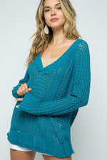 V-Neck Cable Knit Sweater | Teal