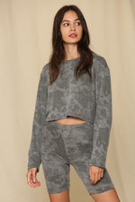 Tie Dye French Terry Biker Shorts | Charcoal