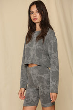 Tie Dye French Terry Long Sleeve Crop Top | Charcoal