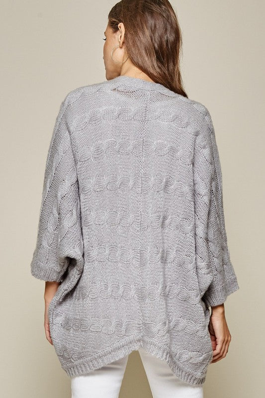 Open Front Cardigan with Dolman Sleeves | Heather Grey