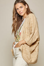 Open Front Cardigan with Dolman Sleeves | Oatmeal