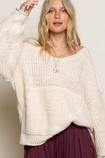 Cable Knit Sweater with Front Pocket | Powder Beige