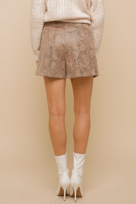 Embossed Snake Skin Pleated Shorts | Taupe