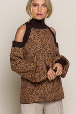 Leopard Cold Shoulder Sweater | Fawn Brown Leopard