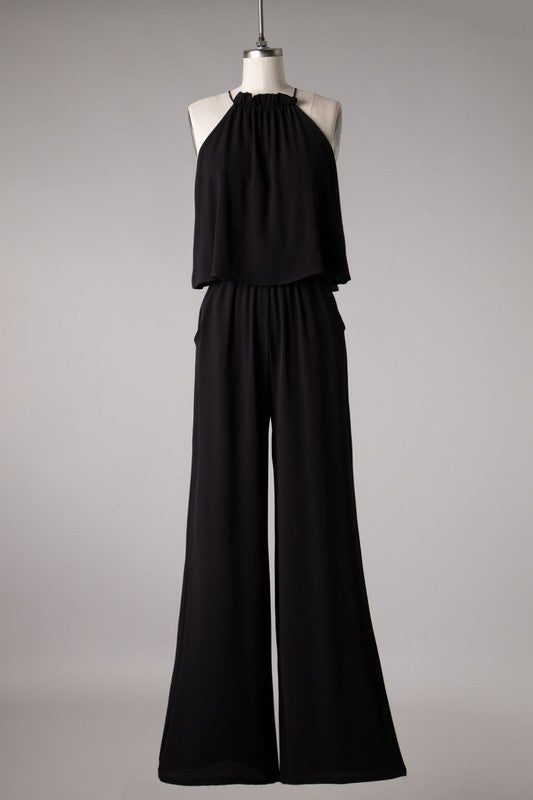 Upper Layer Top Woven Jumpsuit | Black