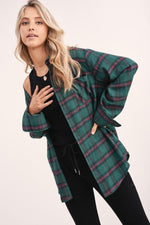 Wave Plaid Button Down Top | Hunter Green