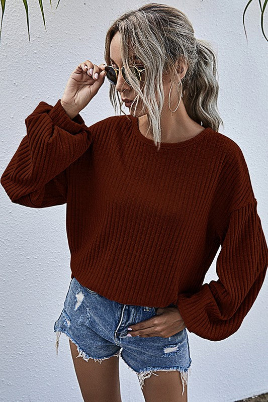 Ribbed Bell Sleeve Top | Red Wine