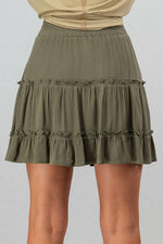 Tiered Ruffle Mini Skirt | Olive