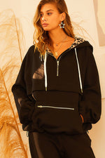 Leopard Contrast Fleece Pullover | Black