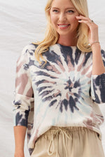 Tie Dye Swirl Knit Top | Charcoal/Mauve