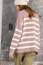 Striped Knitted Sweater | Mauve