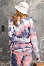 Tie Dye Terry Knit Boxy Pullover | Coral Grey