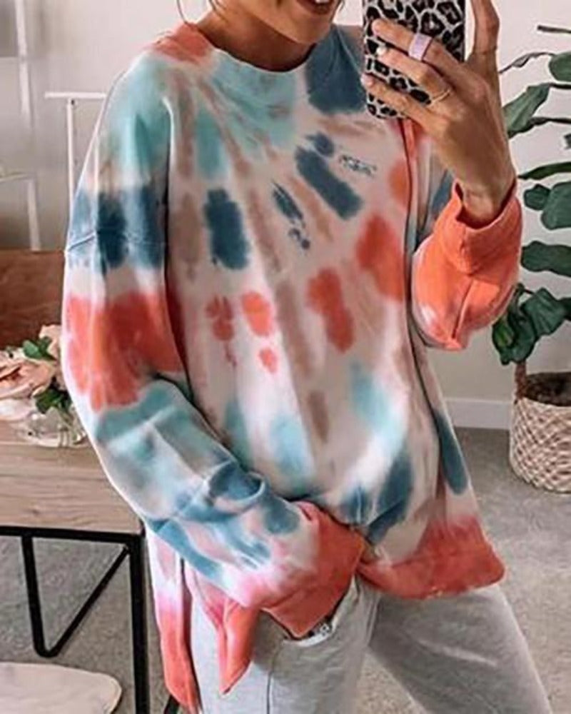 Tie Dye Sweatshirt with Side Slits | Orange