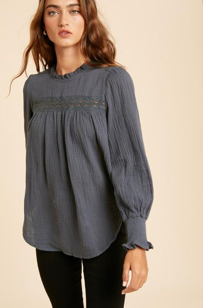 Ruffled Mock Neck Cotton Blouse | Charcoal