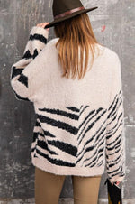 Zebra Patterned Pullover Sweater