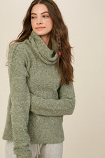 Two Tone Turtle Neck Knit Sweater | Deep Sage