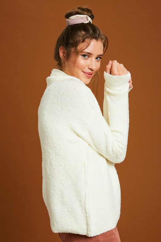 Two Tone Turtle Neck Knit Sweater | Sweet Cream