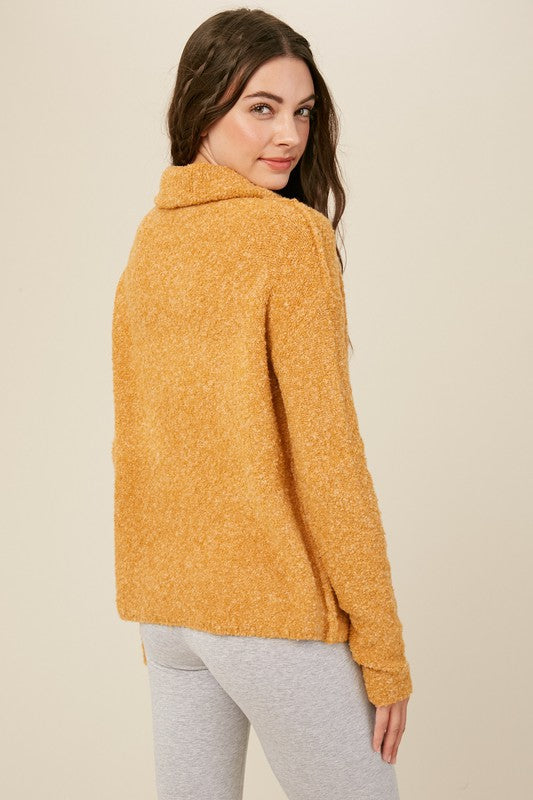 Two Tone Turtle Neck Knit Sweater | Mustard