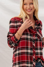 Checked Button Down Shirt | Red