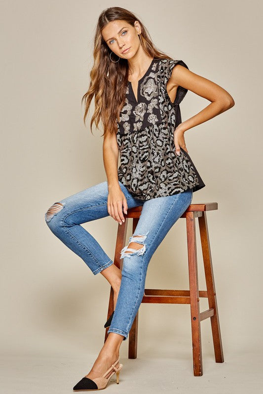Leopard Printed Sequin Top | Champagne