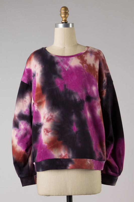 Tie Dye Shirred Sleeve Sweatshirt | Magenta/Brick