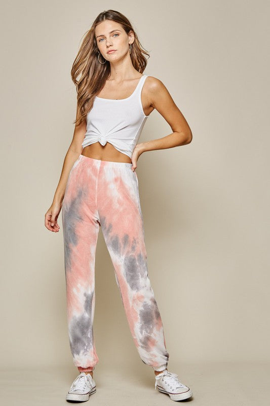 Tie Dye Joggers | Coral
