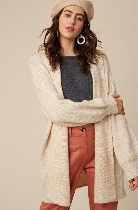 Ribbed Sweater Open Cardigan | Natural