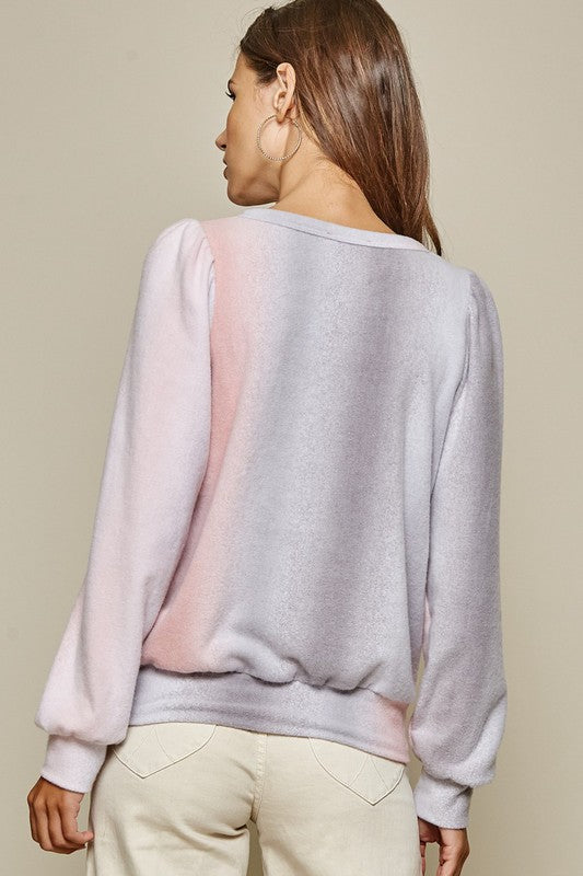 Brushed Knit Ombre Top | Coral/Grey